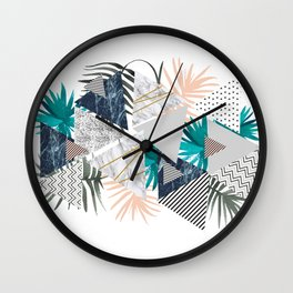 Abstract of geometric patterns with plants and marble II Wall Clock