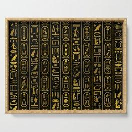 Egyptian Ancient Gold hieroglyphs on black Serving Tray