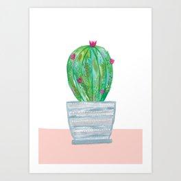 Painted cactus in grey stripey pot Art Print
