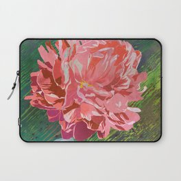 Single Peach Coral Peony in a Ball Canning Jar Laptop Sleeve