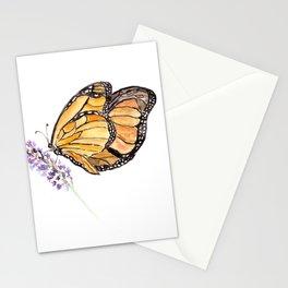 Monarch Butterfly Watercolor Art, Orange Butterfly Painting, Purple Flower Stationery Cards