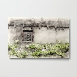 Timber framed wall from medieval house in Perouges in France watercolor Metal Print