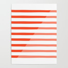 Beach Stripes Red Pink Poster