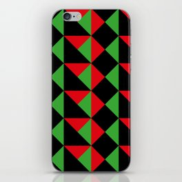 It seems like a very geometrical carapace. Squares and triangular shapes. Red and green and Black. iPhone Skin