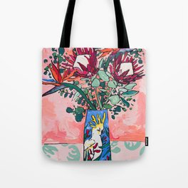 Cockatoo Vase on Painterly Pink Tote Bag