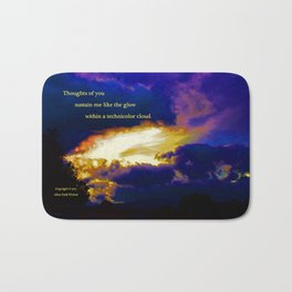 """Sunset #87"" with poem: Technicolor Clouds Bath Mat"