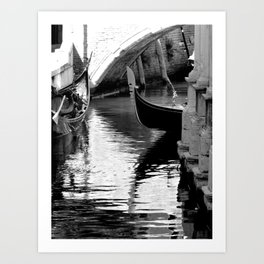 Gondolas in black and white Art Print