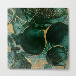 Gold and Emerald Marble I Metal Print