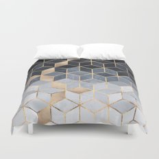Soft Blue Gradient Cubes Duvet Cover
