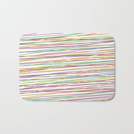 Colorful Abstract strips grid Bath Mat