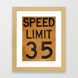 Close up of old speed limit 35 sign. Framed Art Print