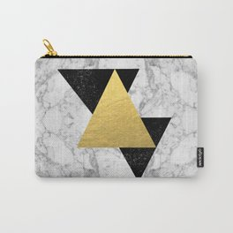 Marble Tri Black & Gold - gold foil, gold, marble, black and white, trendy, luxe, gold phone Carry-All Pouch