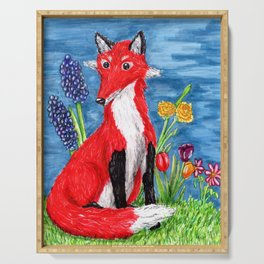 Spring Fox Surrounded by Flowers Serving Tray