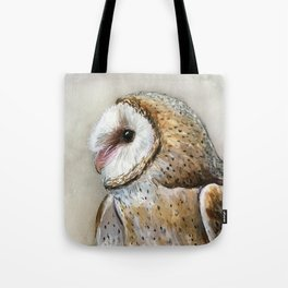 Barn Owl Watercolor, Birds Of Prey Wild Animals Owls Tote Bag