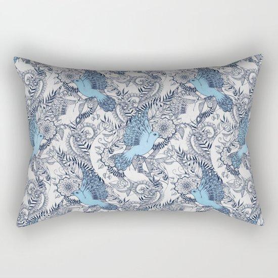 Flight of Fancy - navy, blue, grey Rectangular Pillow