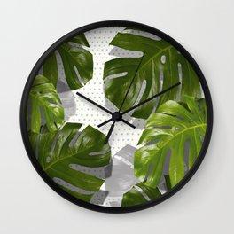 """Monstera plant on polka dots and white"" Wall Clock"