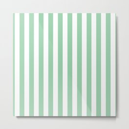 Mint Green Small Even Stripes Metal Print