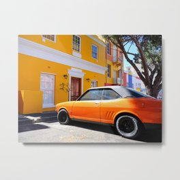 Classic Orange Car and Building Bo Kaap Cape Town South Africa Metal Print