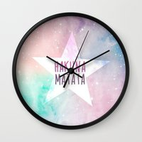 hakuna Wall Clocks featuring Hakuna Matata by Pink Berry Patterns