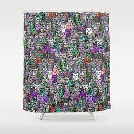 Gemstone Cats UltraViolet Green Palatte Shower Curtain