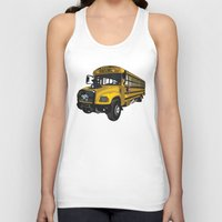 school Tank Tops featuring School bus by mangulica