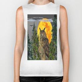 OWL WITH FULL MOON & PINE TREES GREY ART Biker Tank
