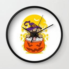 Cute Puppy In Halloween Treat Pumpkin Wall Clock