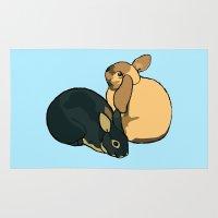 bunnies Area & Throw Rugs featuring Bunnies by Nemki