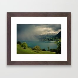 arising storm over lake lucerne Framed Art Print
