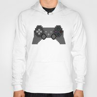 video game Hoodies featuring Pixelized Video Game Controller by Merr Peng