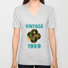 Vintage Vinyl Music 1959 60th Birthday Gift Idea print Unisex V-Neck