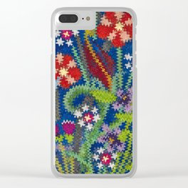 Starry Floral Felted Wool, Blue Clear iPhone Case