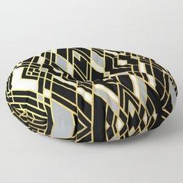 Art Deco Grey Gold Floor Pillow