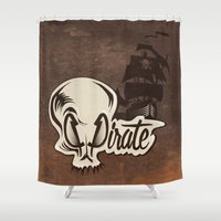pirate Shower Curtains featuring Pirate by Tony Vazquez