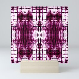 Black Cherry Plaid Shibori Mini Art Print