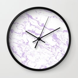 Modern trendy white pastel purple lavender marble pattern Wall Clock