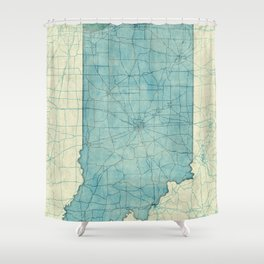Indiana State Map Blue Vintage Shower Curtain