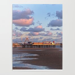 Blackpool Central Pier Sunset Poster
