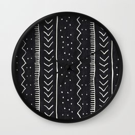 Moroccan Stripe in Black and White Wall Clock