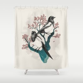 Magpies on Oak Shower Curtain