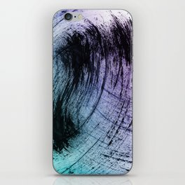 Wide Sweeping Black Brushstrokes with Aqua and Purple iPhone Skin