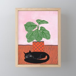 Potted plant V with cat Framed Mini Art Print