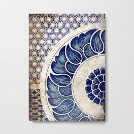 Blue Oriental Vintage Tile 05 Metal Print