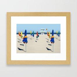 Beach Day in Deauville Framed Art Print