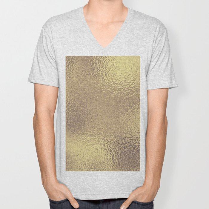Simply Metallic in Antique Gold Unisex V-Neck
