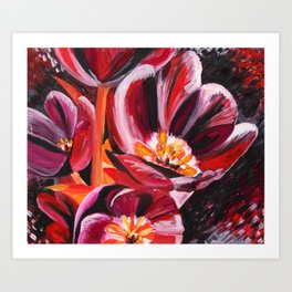 Deep Red - Abstract acrylic painting of red tulips Art Print