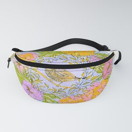 Spring Chickadee in Flowery Woodland Wreath Fanny Pack