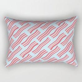Frying Bacon Over Blue Rectangular Pillow