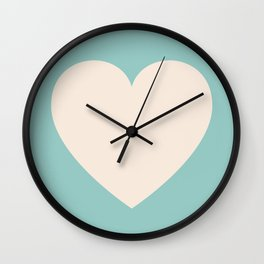 One Teal Heart Wall Clock