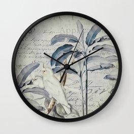 Nostalgic Cockatoo Jungle  Illustration Wall Clock